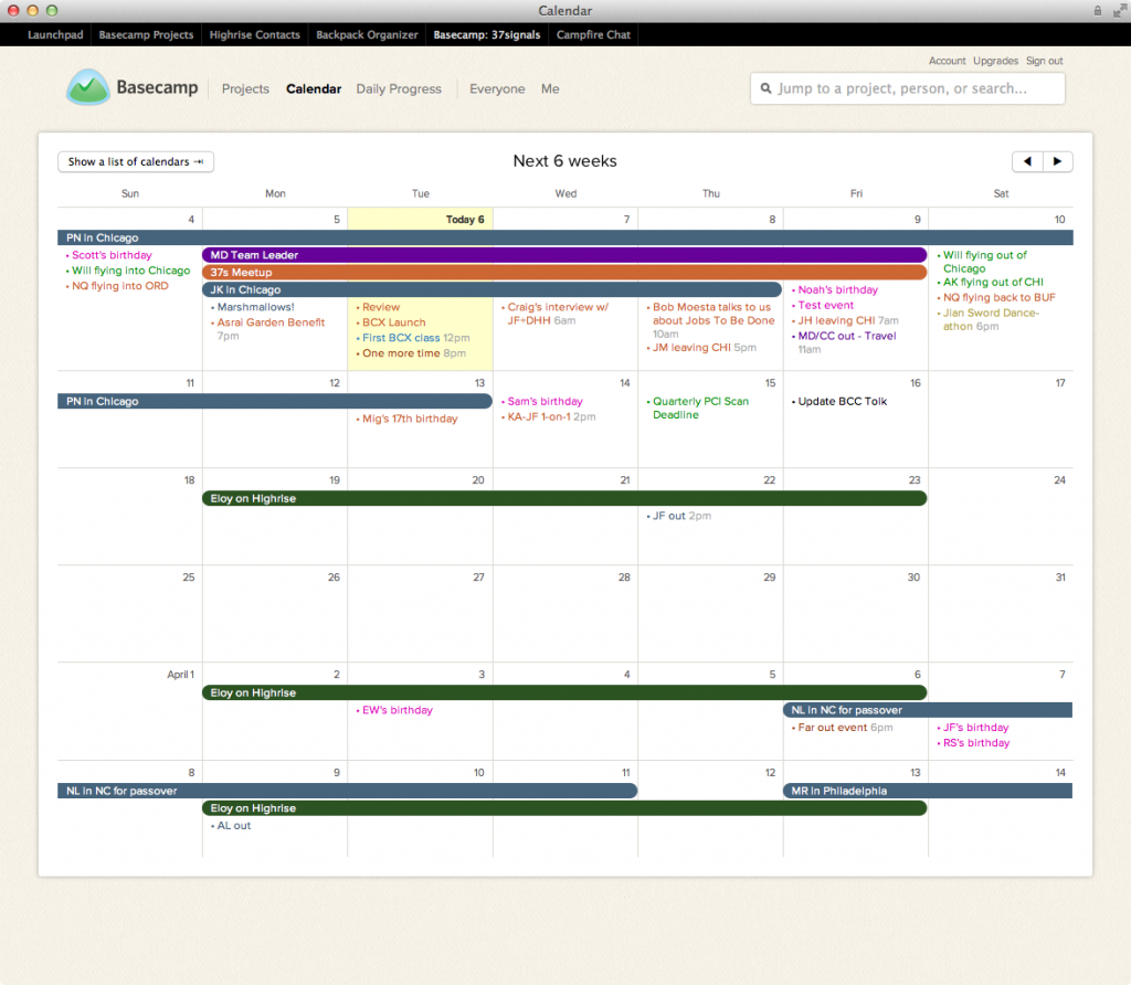 Calendar interface (Pic: Basecamp)