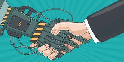 robot arm handshake human business illustration