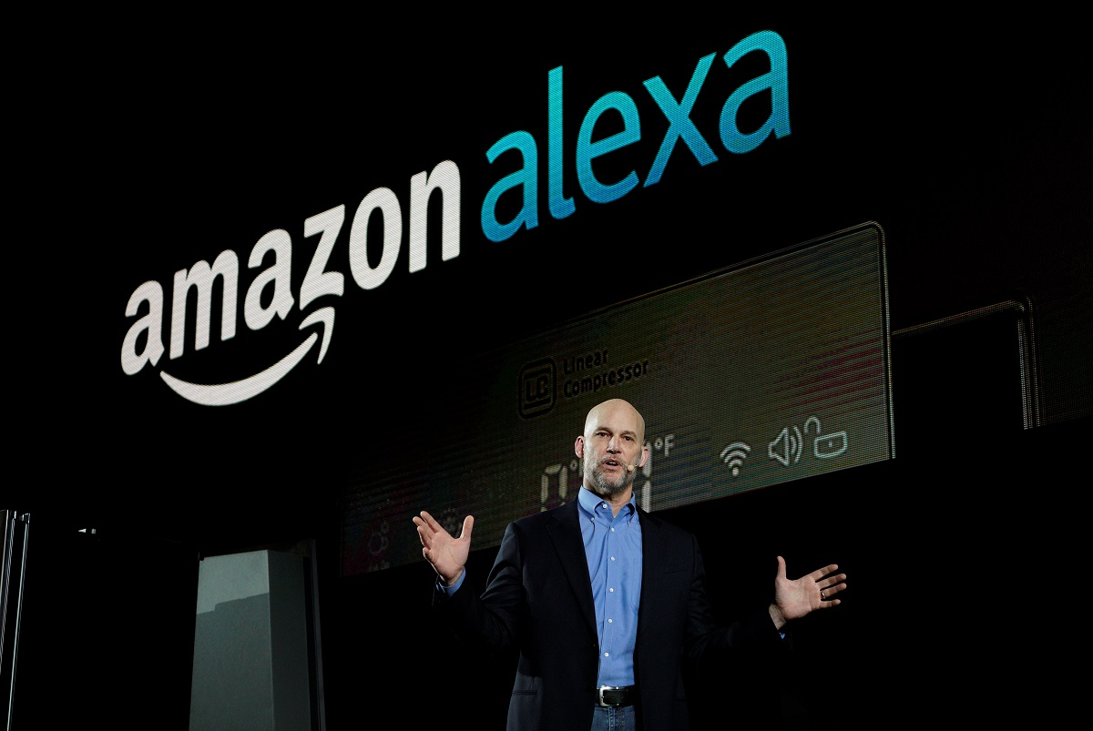 Mike George VP Alexa Echo and Appstore for Amazon speaks during the LG press conference at CES in Las Vegas. Source Reuters