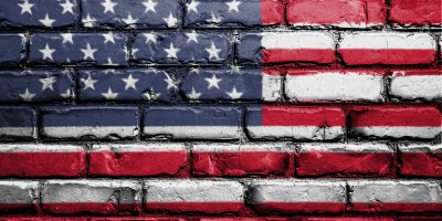 us flag brick wall